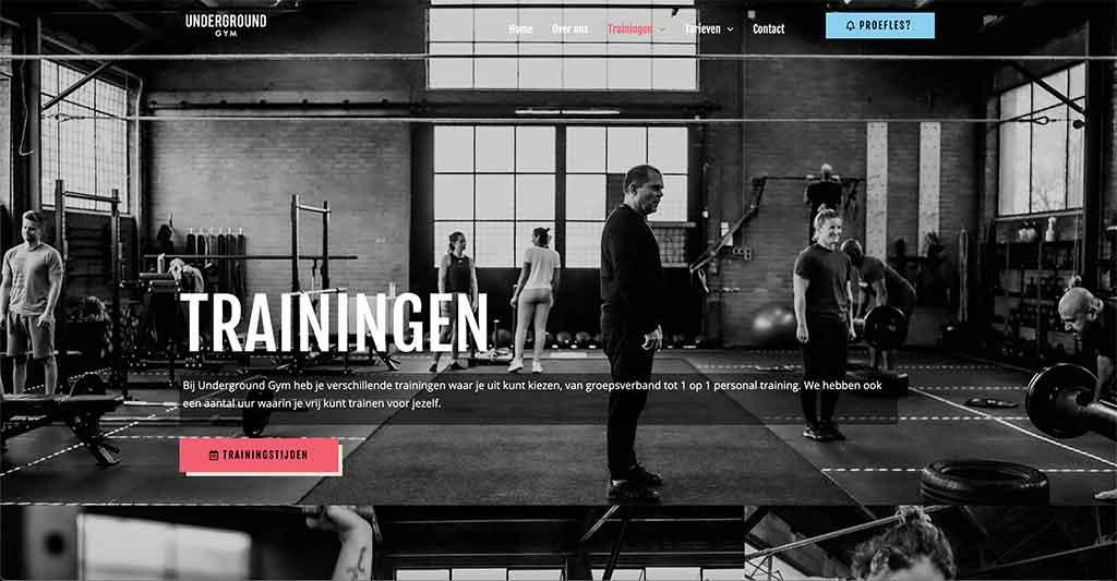 Underground Gym Arnhem wordpress website